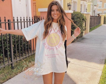 T shirt Happy Mind Happy mind- Aesthetic t shirt, graphic tee, Tumblr tshirt, Trendy Oversized, Vsco girl