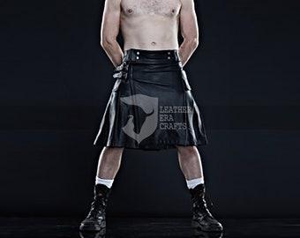 Men's Black Punk Style Utility Leather Kilt | Genuine Leather Kilt | Warriors Kilt
