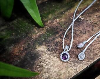 Custom Amethyst Macrame Pendant, Macrame Necklace, Simple Dainty Pendant, Micro Macrame Necklace, Personalized Jewelry