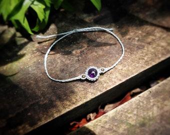 Custom Amethyst Macrame Bracelet, Dainty Macrame Bracelet, Micro Macrame Jewelry, Personalized Jewelry, Simple Macrame Stone