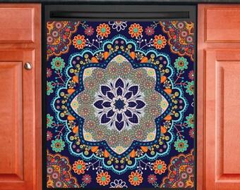 Kitchen Decor Dishwasher Magnet Cover Beautiful Ethnic Mandala