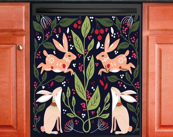 Kitchen Decor Dishwasher Magnet Cover Scandinavian Folk Art Bunny