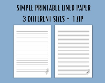 Single Printable Lined Paper. College Ruled Paper. Digital Lined Paper. Printable Note Paper. Lined Pages