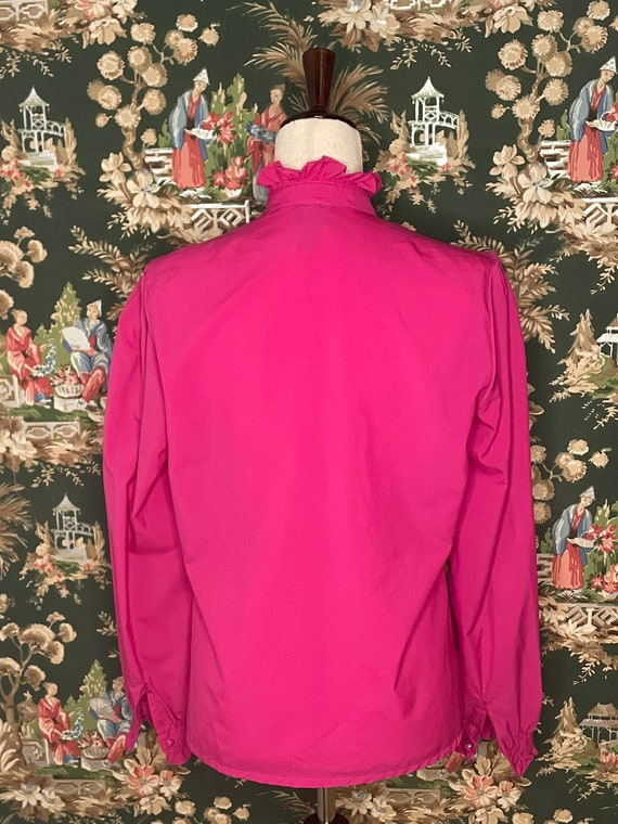 1980s Vintage Polyester Ruffle Blouse - image 5