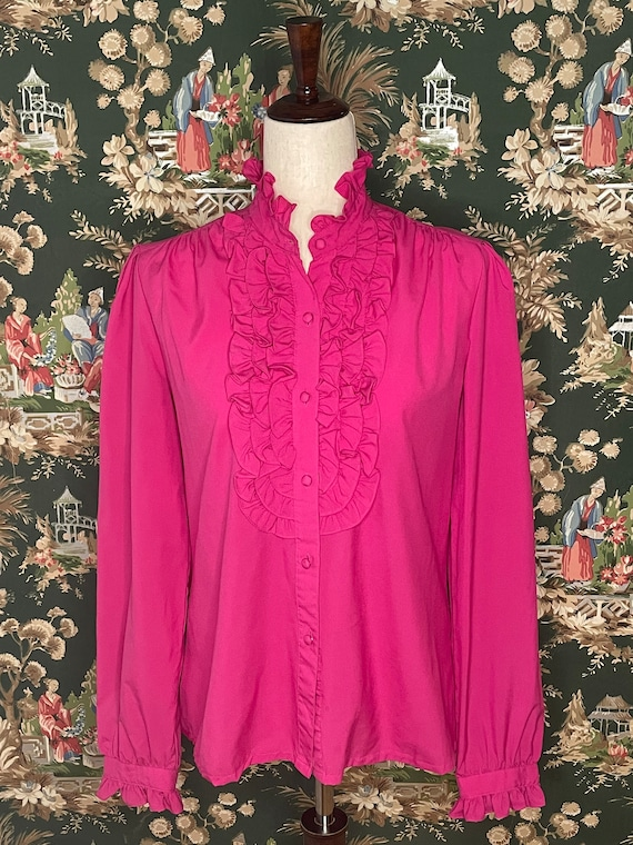 1980s Vintage Polyester Ruffle Blouse - image 1