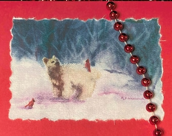 Hand-painted White Bear & Cardinals Watercolor Card, Handmade