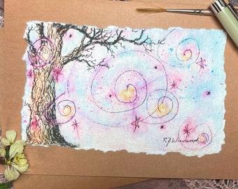 "Hand-Painted Tree ""Enchantment"" Card, Handmade"