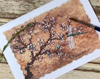 Peach Blossoms and Dragonfly watercolor card