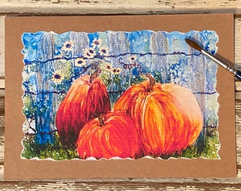 Hand-painted,  Pumpkins, Alcohol Inks, Fall Handmade Card