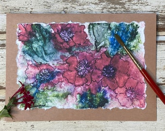 Hand-painted Red Anemones Watercolor Card, handmade