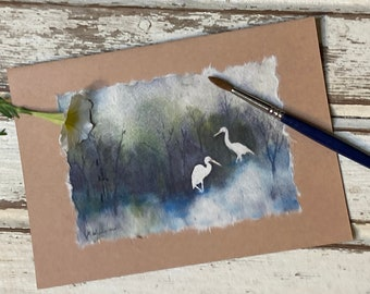 Two Cranes Hand-painted card
