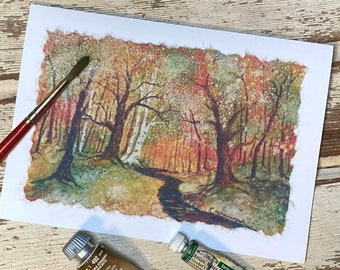 "Handmade, Hand-Painted card: ""Autumn Path""; 5"" x 7"" blank inside fall card"