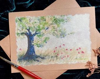 Hand Painted Tree and Wildflower Card, Handmade