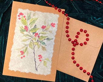 Handmade Card Botanical with Red Berries
