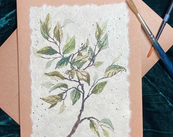 Hand-Painted Botanical Card, handmade
