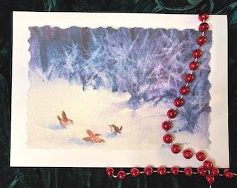 "Hand-painted ""Winter Wrens"" Watercolor Card, Handmade"