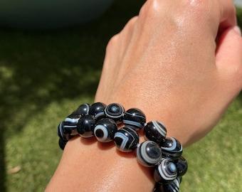 10mm Evil Eye Sardonyx Agate Round Beads Bracelet