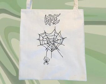 Skull Handmade Cotton Tote Bag Tarot Card Style: Black Cat Crystal Ball Moon Black Widow Spider