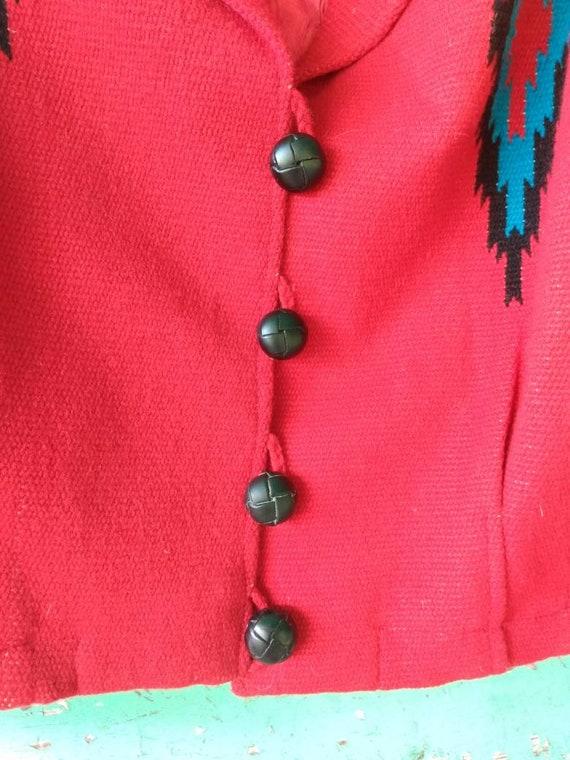 Vintage Hand Woven  Red Wool Jacket Ortega's Chim… - image 10