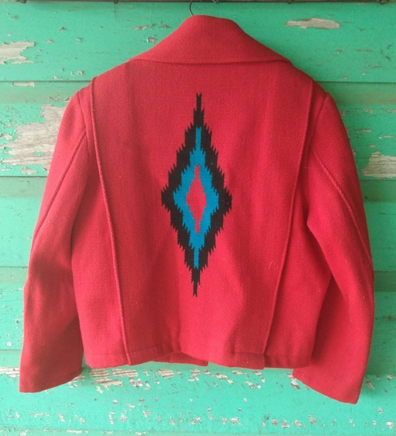 Vintage Hand Woven  Red Wool Jacket Ortega's Chim… - image 8