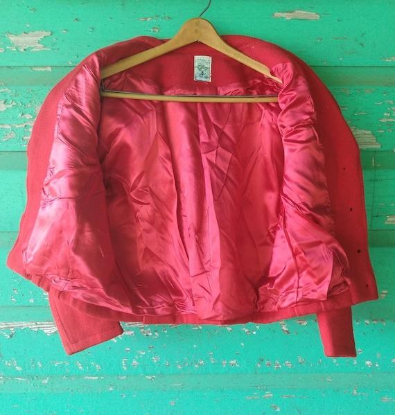 Vintage Hand Woven  Red Wool Jacket Ortega's Chim… - image 7