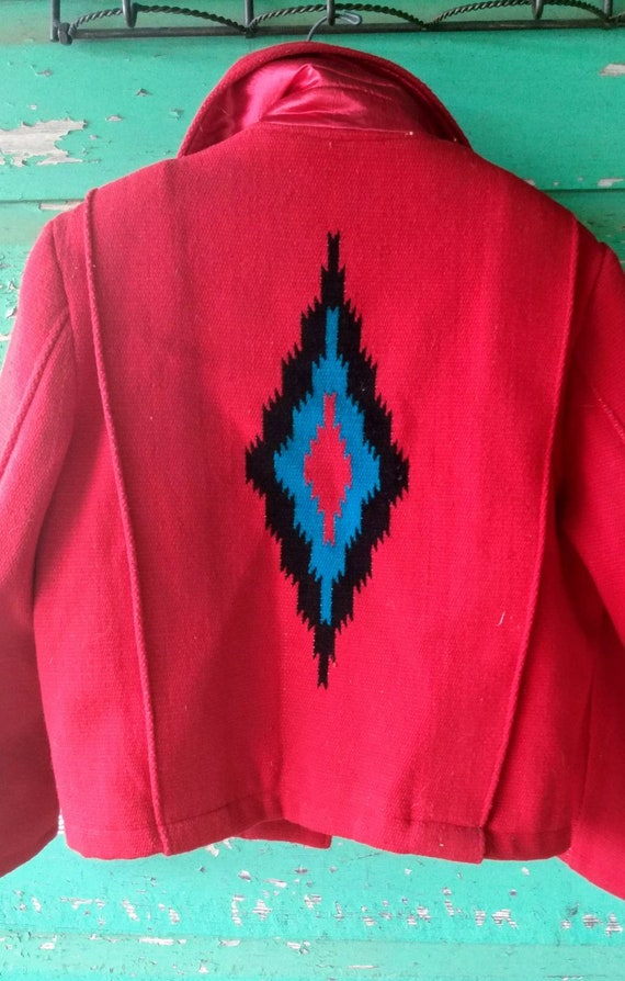 Vintage Hand Woven  Red Wool Jacket Ortega's Chim… - image 6