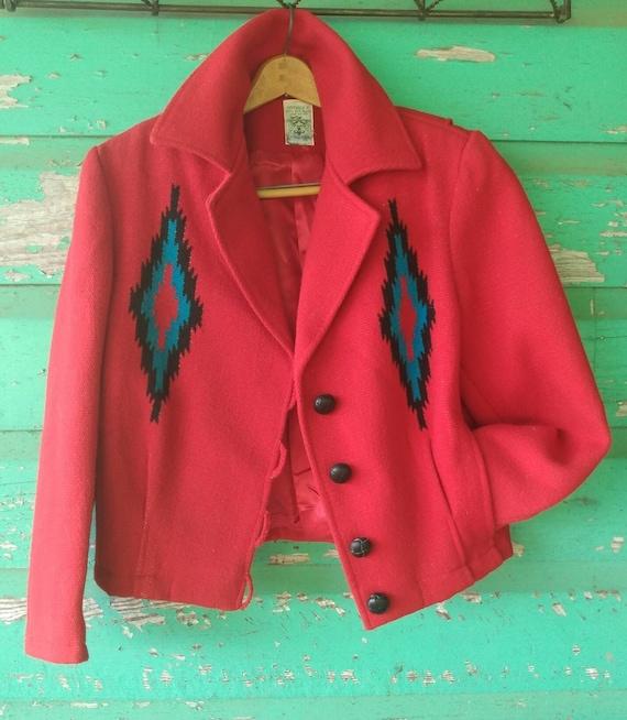 Vintage Hand Woven  Red Wool Jacket Ortega's Chim… - image 2