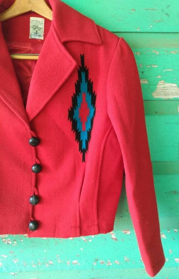 Vintage Hand Woven  Red Wool Jacket Ortega's Chim… - image 4