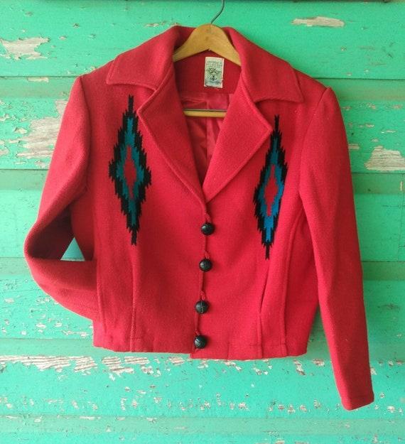 Vintage Hand Woven  Red Wool Jacket Ortega's Chim… - image 3
