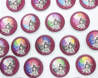 Queerutili - Pride Flag Nautilus Ammonite Button Badges