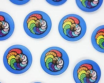 Queeraminifera- Progress Pride Flag Foraminifera Button Badges