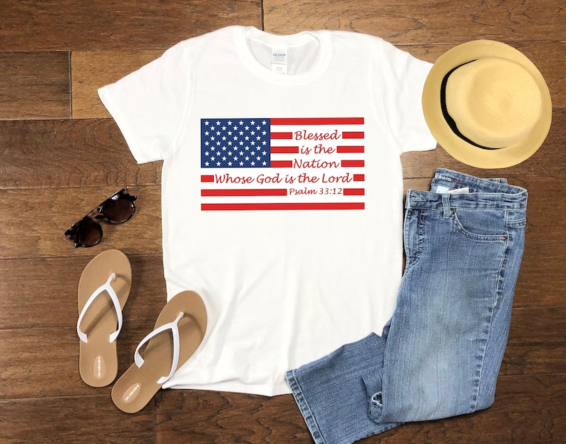Blessed Nation Love Shirt Patriotic T-shirt American Flag image 0