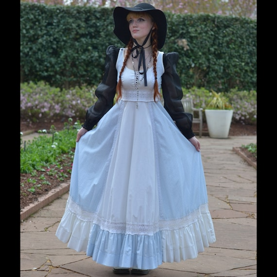 Blue Gingham Gunne Sax Prairie Dress Cottagecore - image 2