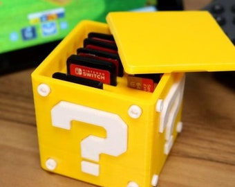 Question Block, Cartridge Case, Mario Storage Box,3d print, Nintendo Switch, Video Games; Zelda