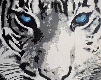 "Original acrylic painting, large painting, animal image, 32 * 24 inches, ""White Tiger""."