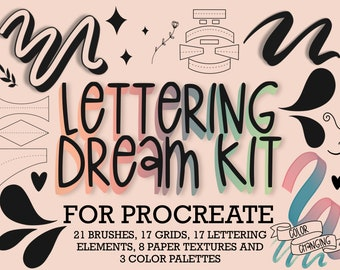 Procreate Brushes | Procreate Grid Builder | Glitter Brush | Lettering Grids & Compositions | Procreate Lettering Brushes | Paper Textures