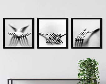 Kitchen Decoration Forks Black and white Set of 3 Photography Prints Gallery Wall Art Home Decor Still life
