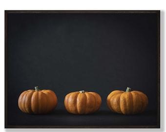 Orange 3 pumpkins print, halloween decoration, Autumn Still life Wall art