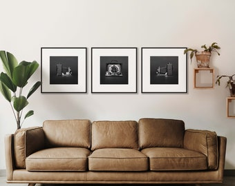 Old camera Dr Krugener Delta - Black and white Decoration - Set of 3 Photography Prints Gallery Wall for Minimalist Home Decor