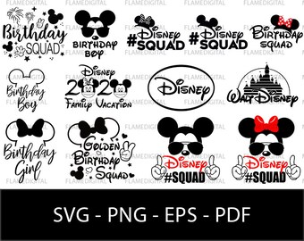 Disney Birthday Logo svg, disney family svg, disney vector, silhouette, disney cutfile, disney squad svg, mickey mouse birthday, mickey svg