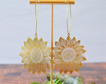 Laser Cut Brass Sunflower Daisy Flower Gold Hoop Earrings