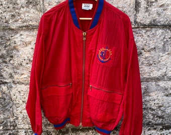 Vintage Red 80s shell jacket with anchor embroidery by 1440 Sport Size L Ex Cond