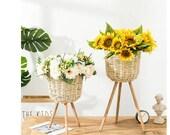 2021 New Handmade Bamboo Storage Baskets Laundry Straw Patchwork Wicker Rattan Seagrass Belly Garden Flower Pot Planter Basket