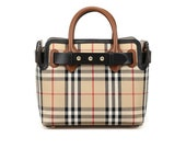 Burberry plaid one-shoulder handbag for women in black and brown fashion go-go bag