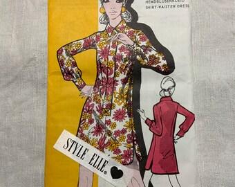 1960's Elle French Vintage Dress Pattern, Shirt Waister Dress, Vintage Pattern, Vintage Fashion, French Dress Pattern, Long Sleeved Dress.