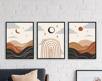 Celestial Wall Art, Boho Set of 3 Prints, Mid Century Modern Wall Print Set of 3, Boho Minimal Gallery, Sun and Moon Print Instant Download