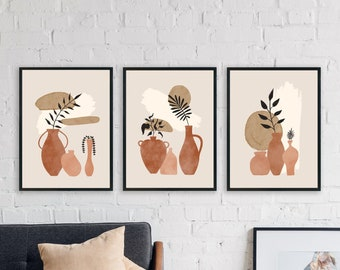 Boho Prints Set Of 3, Mid Century Modern Wall Art, Abstract Pottery Wall Print, Set of 3 Prints, Vase Art Prints, Terracotta Gallery Art Set