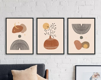 Boho Prints Set Of 3, Mid Century Modern Wall Art, Abstract Pottery Wall Print, Set of 3 Prints, Digital Downloadable, Celestial Line Art