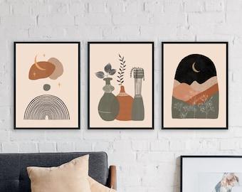 Boho Prints Set Of 3, Mid Century Modern Wall Art Neutral Abstract Celestial Prints Black Beige Sage Minimalist Terracotta Art Gallery Art