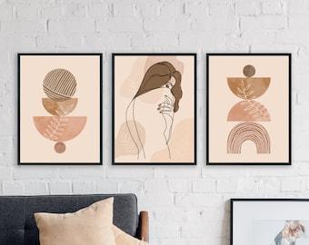 Boho Prints Set Of 3, Mid Century Modern Wall Art, Blush Tones Abstract Art, Female Line Drawing, Girl Abstract Art, Gallery Wall Art Set